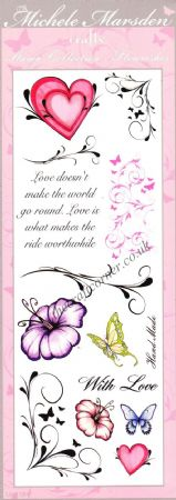 Love, Swirls & Wording 14 Uncut & Unmounted Rubber Stamps